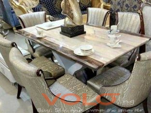 Executive Marble Dinning Table With 6 Solid leather Chairs