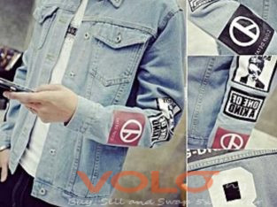 denim light blue men casual jacket