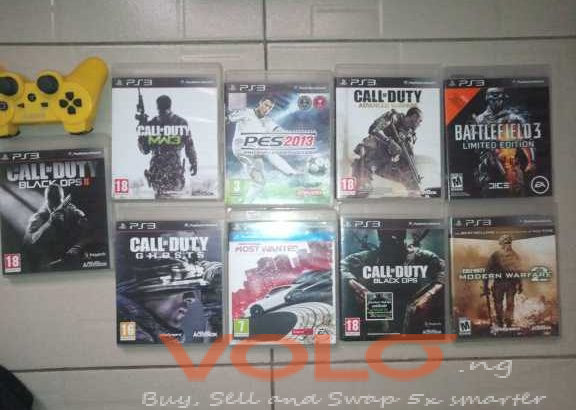 Used ps3 with 1 pad and 9 games for sale